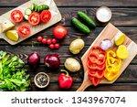 vegan food cooking with raw...   Shutterstock . vector #1343967074