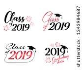 class of 2019 card vector... | Shutterstock .eps vector #1343984687