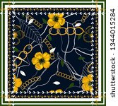 scarf pattern seamless floral... | Shutterstock .eps vector #1344015284