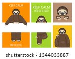sloth greeting collection with... | Shutterstock .eps vector #1344033887