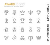 collection of award line icons. ... | Shutterstock .eps vector #1344048527