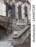Stairs near the catholic cathedral in Bratislava, Slovakia - stock photo