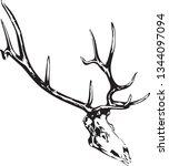 Elk Skull Head Skeleton Black...