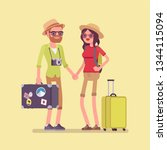 tourists in travelling outfit... | Shutterstock .eps vector #1344115094