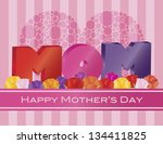 happy mothers day mom alphabets ... | Shutterstock .eps vector #134411825