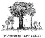 forest trees. detailed...   Shutterstock .eps vector #1344133187