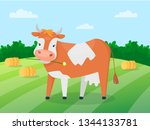 adorable cute cow on the green... | Shutterstock .eps vector #1344133781