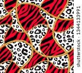 golden chain glamour red zebra... | Shutterstock . vector #1344133991