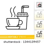 tea thin line icon. coffee... | Shutterstock .eps vector #1344139457