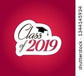 class of 2019 card vector... | Shutterstock .eps vector #1344145934