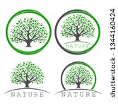 set logo of a tree with round... | Shutterstock .eps vector #1344160424