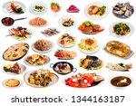 set of dishes of restaurant... | Shutterstock . vector #1344163187