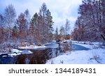 winter forest river landscape....   Shutterstock . vector #1344189431