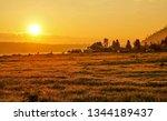 sunset farm land landscape.... | Shutterstock . vector #1344189437