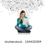 beautiful girl with tablet is... | Shutterstock . vector #134420309