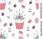 seamless pattern cute unicorn... | Shutterstock .eps vector #1344226574