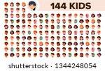 kids avatar set vector. girl ... | Shutterstock .eps vector #1344248054