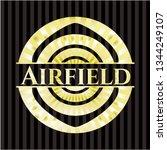 airfield golden emblem | Shutterstock .eps vector #1344249107