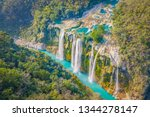 Small photo of Amazing crystalline blue water of Tamul waterfall at Huasteca Potosina in San Luis Potosi, Mexico