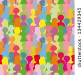 colorful crowd  seamless... | Shutterstock . vector #134429345