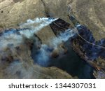 the smoke from the burning of... | Shutterstock . vector #1344307031