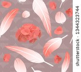 pink rose feathers seamless... | Shutterstock .eps vector #1344323744