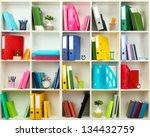 white office shelves with... | Shutterstock . vector #134432759