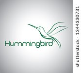 abstract hummingbird logo | Shutterstock .eps vector #1344330731