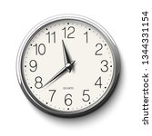 round wall clock with glossy... | Shutterstock . vector #1344331154