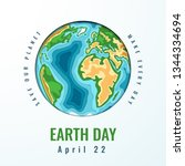 happy world earth day. april 22.... | Shutterstock .eps vector #1344334694
