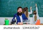 man bearded teacher work with...   Shutterstock . vector #1344335267