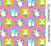 easter bunny pattern with...   Shutterstock .eps vector #1344340751