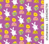 easter bunny and chicks pattern ...   Shutterstock .eps vector #1344340754