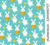 easter bunny pattern on light...   Shutterstock .eps vector #1344340757