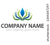 leaf logo template | Shutterstock .eps vector #1344347297