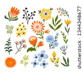 cute floral set in hand drawn...   Shutterstock . vector #1344348677
