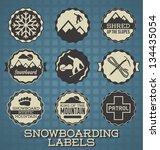 vector set  snowboarding labels ... | Shutterstock .eps vector #134435054