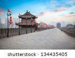 ancient tower at dusk in xian... | Shutterstock . vector #134435405