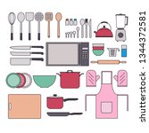 collection of kitchenware on... | Shutterstock . vector #1344372581