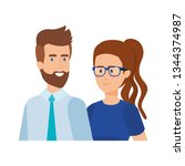 young couple avatars characters | Shutterstock .eps vector #1344374987
