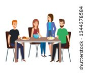 young people eating in table... | Shutterstock .eps vector #1344378584