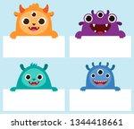 happy monster holding frames...   Shutterstock .eps vector #1344418661