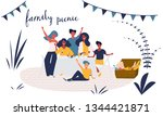 happy young family has fun on a ... | Shutterstock .eps vector #1344421871