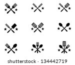 nine crossing cooking icons... | Shutterstock .eps vector #134442719
