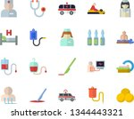 color flat icon set medical...