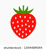 strawberry fruit icon. simple... | Shutterstock .eps vector #1344489044