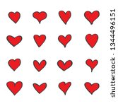 heart icons set isolated on... | Shutterstock .eps vector #1344496151