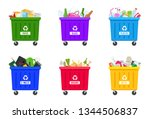trash containers with sorted... | Shutterstock .eps vector #1344506837