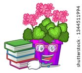 student with book geranium... | Shutterstock .eps vector #1344511994