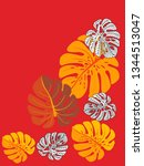 vector tropical pattern with... | Shutterstock .eps vector #1344513047
